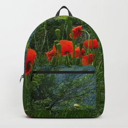 Wild poppies of the Pyrenees mountains Backpack