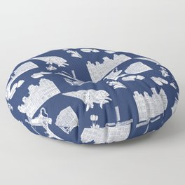 Netherlands Toille de Jouy pattern in Delft Blue background Floor Pillow