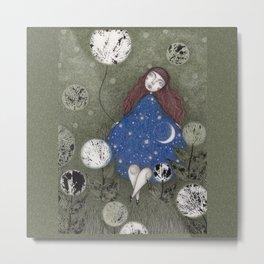 Where the Moonflowers Grow Metal Print