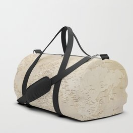 Vintage world map in sepia and gold, Kellen Duffle Bag