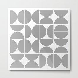 Mid Century Modern Geometric 04 Grey Metal Print