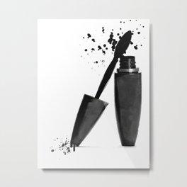 Black mascara fashion illustration Metal Print