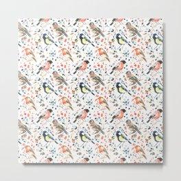 Watercour Painted British Birds Metal Print