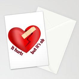 Broken heart patch Stationery Cards