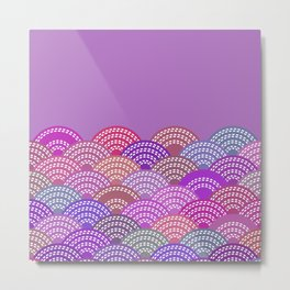 seigaiha wave lilac purple pink colors abstract scales Metal Print