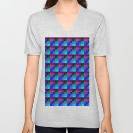 Plum Pink and Classic Blue Checkered Pattern Unisex V-Neck