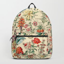 Vintage Floral Drawings // Fleurs by Adolphe Millot XL 19th Century Science Textbook Artwork Backpack