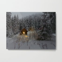 Tiny Cabin In The Winter Forest Snow Covered Pine Trees Metal Print