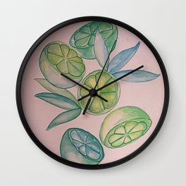 pink limeade: When Life Gives You Limes Wall Clock