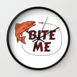Fishing Bite Me Quote Funny Line Bait Reel Fish Art Cast design Wall Clock