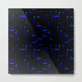 Bright blue stems with heavenly highlights on a black background. Metal Print