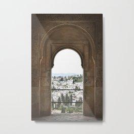 Alhambra Window to Granada Metal Print
