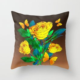 BROWN SHADES YELLOW SPRING ROSES & BUTTERFLIES Throw Pillow