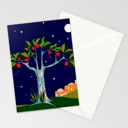 A Traditional Pomegranate Tree in Israel at Nigh Stationery Cards