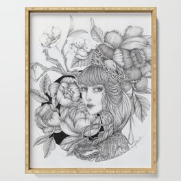 JennyMannoArt GRAPHITE DRAWING/SAGE Serving Tray