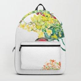 flowers in green handcart watercolor  Backpack