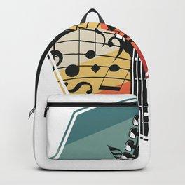 Retro Color Bass Guitar Backpack