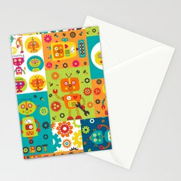 Robot Cheater Quilt Pattern Orange Blue Green Stationery Cards
