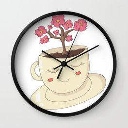 Cup with Flower Tree Wall Clock