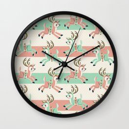 Candy Cane Reindeer Wall Clock