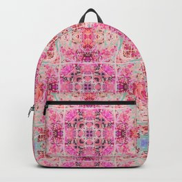 Pink and Blue Gothic Stained Glass Tile Backpack