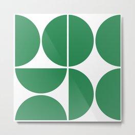 Mid Century Modern Green Square Metal Print