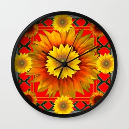 RED-GREY DECO YELLOW SUNFLOWERS MODERN ART Wall Clock