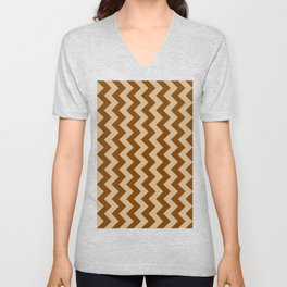 Tan Brown and Chocolate Brown Vertical Zigzags Unisex V-Neck
