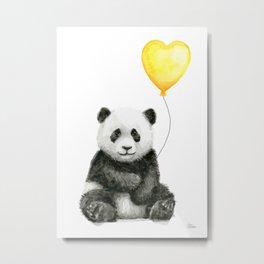 Panda with Yellow Balloon Baby Animal Watercolor Nursery Art Metal Print