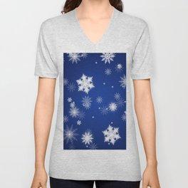 Winter / Christmas Blue and White Snowflakes Unisex V-Neck