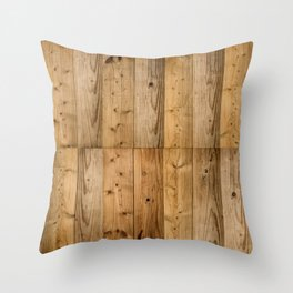 Wood Planks Dark Throw Pillow