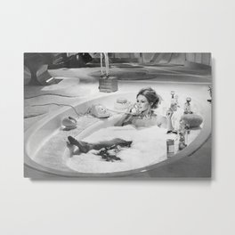 Brigitte Bardot in Bubble Bath , Vintage , Poster, Style print , home decor, classic french model, Fashion photography Metal Print