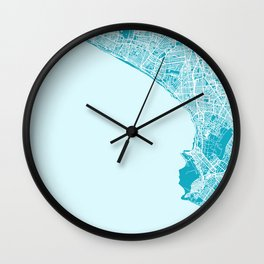 LIMA Map Print Aqua | More Colors, Review My Collections Wall Clock