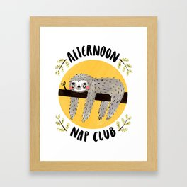 Afternoon Nap Club Sloth Framed Art Print