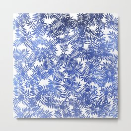 Rowan/ Mountain Ash - Blue metallic on white Metal Print