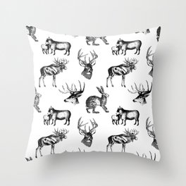 Woodland Critters in Black and White Throw Pillow