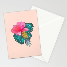 Tropical Summer Watercolor Pink Green Yellow Floral Stationery Cards