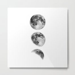 Full Moon cycle black-white photography print new lunar eclipse poster bedroom home wall decor Metal Print