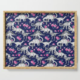 Dinosaurs and Roses on Dark Blue Purple Serving Tray