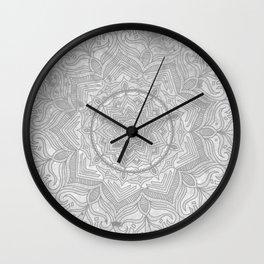 gray splash mandala swirl boho Wall Clock
