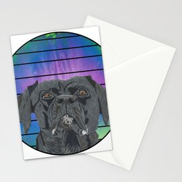 Black Lab in Abstract Colored Circle with Lines Stationery Cards
