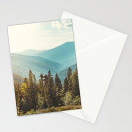 Panoramic view of nature peaceful landscape. Vintage mountains and beautiful blue sky background.  Stationery Cards