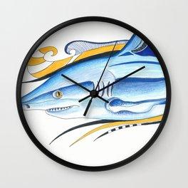 Funky Shark Orange Blue Ink Art Wall Clock