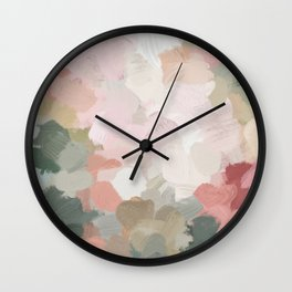 Forest Green Fuchsia Blush Pink Abstract Flower Spring Painting Art Wall Clock