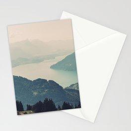 Blue Haze Mountain Lake - Switzerland Alps Landscape Stationery Cards