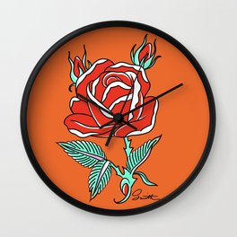 Round Red Rose Wall Clock