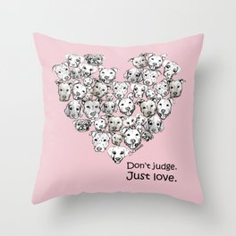 Just Love. (black text) Throw Pillow
