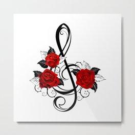 Black Musical Key with Red Roses Metal Print
