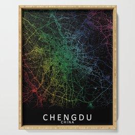 Chengdu, Sichuan, China, City, Map, Rainbow, Map, Art, Print Serving Tray