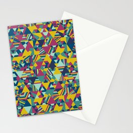 Colourful triangular mosaic in blue, yellow and burgundy Stationery Cards